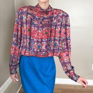 Vintage Pleated Mock Neck Blouse Dress Shirt